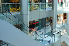 View on an interior centre shopping. View on the escalator in shopping centre Stock Photography