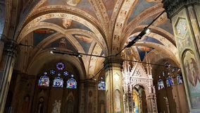 Interior of the Church of Orsanmichele, the Church of the Arti, the ancient Florentine guilds. View of the interior of the Church of Orsanmichele, the Church of royalty free stock photo