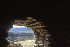 View from the interior of a cliff dwelling, AZ Royalty Free Stock Images