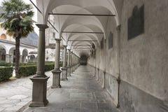 Parish of San Lorenzo, Chiavenna, Italy. View of the interior of the cloister of the parish of San Lorenzo, Chiavenna, Italy stock images