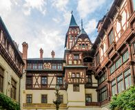 View of the interior courtyard at the Peles Castle Royalty Free Stock Image