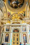 Interior decoration of St. Isaac`s Cathedral, Saint-Petersburg, Russia royalty free stock images