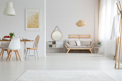 View of interior design. View of trendy lagom interior design in white stock photo