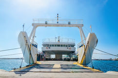 View on interior of empty ferry waiting in harbour. To be loaded with cars in sunny summer day Royalty Free Stock Image