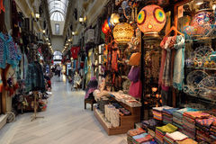 A view of the interior of the Gran Bazaar located in Istanbul, Turkey. Royalty Free Stock Images
