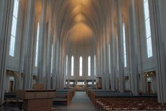 Iceland Travel. A view of the interior of Hallgrimskirkja Lutheran Church in Reykjavik, Iceland Royalty Free Stock Photography