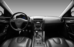 View of the interior of a modern automobile. Showing the dashboard Royalty Free Stock Photos