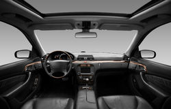View of the interior of a modern automobile. Showing the dashboard Stock Photography