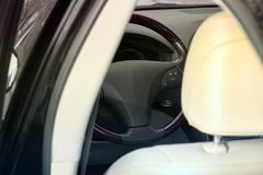 View of the interior of a modern automobile showing the dashboar royalty free stock photography