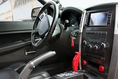 View of the interior of a modern automobile showing the dashboard stock photos