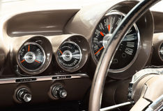 View of the interior of an old vintage car. Retro Royalty Free Stock Image