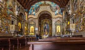 View at the interior painted decoration of church Our Lady of Amparo in Valega Stock Photos