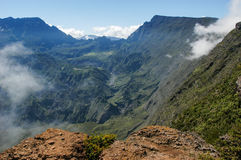 View into the interior of Reunion Island. In the Cirque de Mafate from Maido viewpoint stock photo