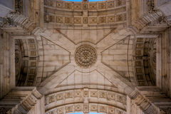 View of the interior roof of the Triumphal Arch in Lisbon, Portugal. View of the interior roof of the Triumphal Arch, located between Augusta streets and the Stock Photography