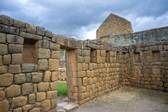 View of an interior room at the Inca ruins of Ingapirca. Ecuador, on an overcast day Royalty Free Stock Image