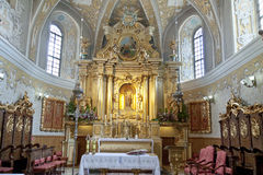 View on interior of sanctuary church in Lesniow Royalty Free Stock Photography