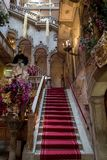 View of the interior staircase and high arches at the Danieli Hotel formerly Palazzo Dandolo, decorated for the Venice Carnival Stock Photos