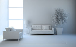 View on the interior in white Royalty Free Stock Images