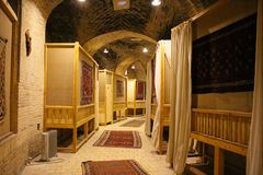 View of the interior of the Zein-o-din Caravanseray, Iran stock photography