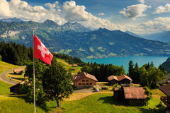 View of Interlaken with Swiss flag Stock Images