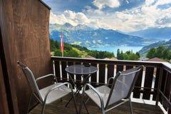 View of Interlaken with Swiss flag. Switzerland Royalty Free Stock Photos