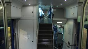 View of the Internal Vivalto Passenger Train. From a Passenger Train to Florence stock video footage
