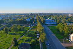 View of intersection of Lenin and Friedrich Engels streets from Belltower of Eufrosinia Suzdalskaya in Suzdal, Russia. Spaso-Evfimiyevsky monastery, Lenin and Royalty Free Stock Photos