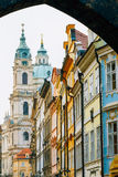 View of the intersection of streets Mostecka and Malostranske namesti Royalty Free Stock Photos