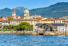 View of Intra-Verbania from lake Maggiore, Italy Royalty Free Stock Photos
