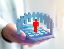 Intruder in a group of network people - Business and contact con. View of a Intruder in a group of network people - Business and contact concept stock images