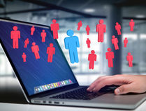 Intruder in a group of network people - Business and contact con. View of a Intruder in a group of network people - Business and contact concept royalty free stock photos