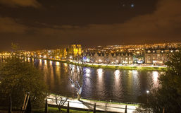 View from Inverness Castle at night. An image from Inverness Castle across the River Ness at night Royalty Free Stock Image