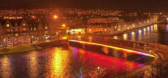 View from Inverness Castle. View at night from Inverness Castle on Hogmanay over the River Ness and city beyond Royalty Free Stock Photos