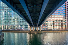 View of investment bank J.P. Morgan & Co under a DLR bridge in C Royalty Free Stock Image