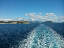 View of Ionian sea. From the ferry boat Royalty Free Stock Photos