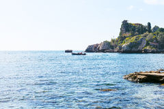 View Ionian Sea near Isola Bella beach in Sicily Royalty Free Stock Photo