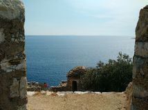 View of Ionian sea from Porto Palermo Castle stock photos