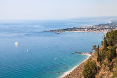 View of Ionic sea from Piazza 9 Aprile in Taormina Royalty Free Stock Photo