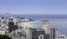 View of Ipanema Beach from Alto Lebon Stock Photography