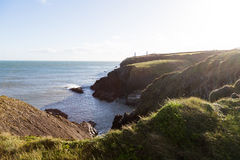 View of Irish Sea and Green Grassy Coastal Cliffs Stock Photography