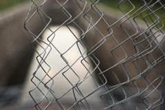 A view through iron fence. From isolated zone stock photography