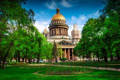 View of Isaac cathedral in Saint Petersburg Stock Images