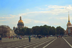 View of Isaakievskiy Cathedral and Admiralty. From Palace Square in St Petersburgs, Russia - June 2016 Royalty Free Stock Photos