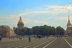 View of Isaakievskiy Cathedral and Admiralty. From Palace Square in St Petersburgs, Russia - June 2016 Royalty Free Stock Images