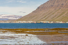View on Isafjordur town - Iceland. Isafjardardjup fjord in background view on Isafjordur town - Iceland, Westfjords Royalty Free Stock Photos