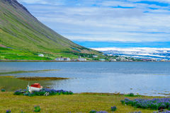 View of Isafjordur town. Landscape and view of Isafjordur town, in the west fjords region, Iceland Stock Images