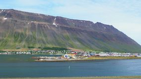 View of Isafjordur the town in the northwest Iceland stock footage