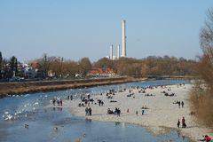 View on Isar river in springtime - Flaucher. Auen Royalty Free Stock Photos