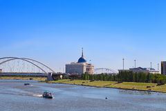 View of the Ishim River and Ak Orda on a summer day Royalty Free Stock Image
