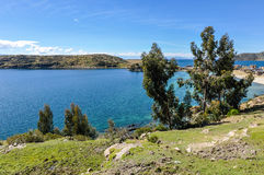 View of the Isla del Sol on Lake Titicaca in Bolivia Royalty Free Stock Photos